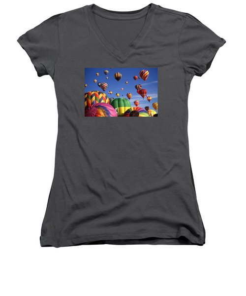 Beautiful Balloons On Blue Sky Women's V-Neck T-Shirt (Junior Cut) by Art America Gallery Peter Potter
