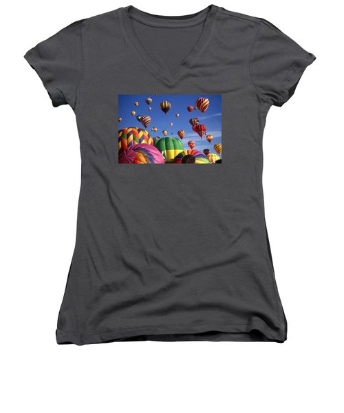Beautiful Balloons On Blue Sky - Color Photo Women's V-Neck