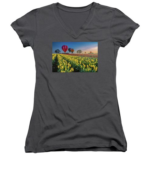Women's V-Neck T-Shirt (Junior Cut) featuring the photograph Hot Air Balloons Over Tulip Fields by William Lee