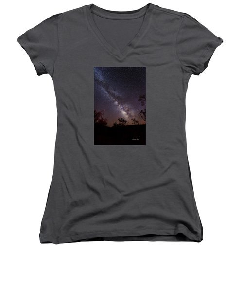 Women's V-Neck T-Shirt (Junior Cut) featuring the photograph Hot August Night Under The Milky Way by Karen Slagle