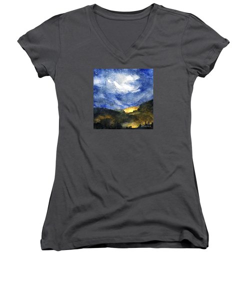Hot Spots In Our Mountains Tonight Women's V-Neck T-Shirt (Junior Cut) by Randy Sprout