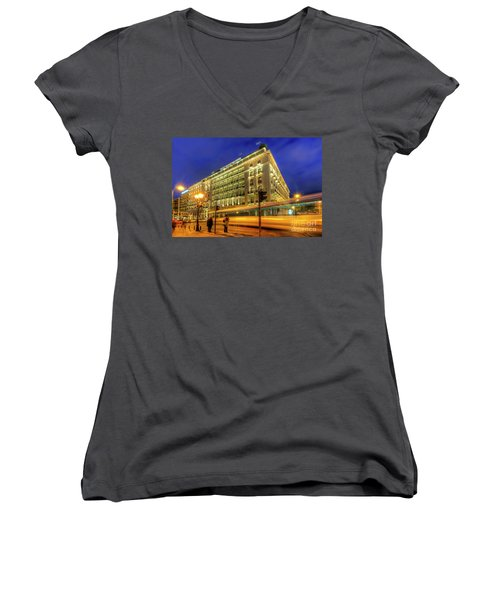 Women's V-Neck T-Shirt (Junior Cut) featuring the photograph Hotel Grande Bretagne - Athens by Yhun Suarez