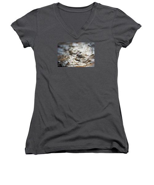 Women's V-Neck T-Shirt (Junior Cut) featuring the photograph House Fly by Chevy Fleet