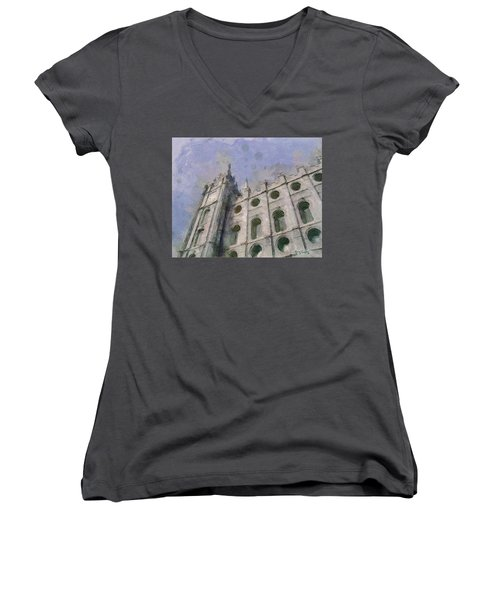 Women's V-Neck T-Shirt (Junior Cut) featuring the painting House Of Faith by Greg Collins