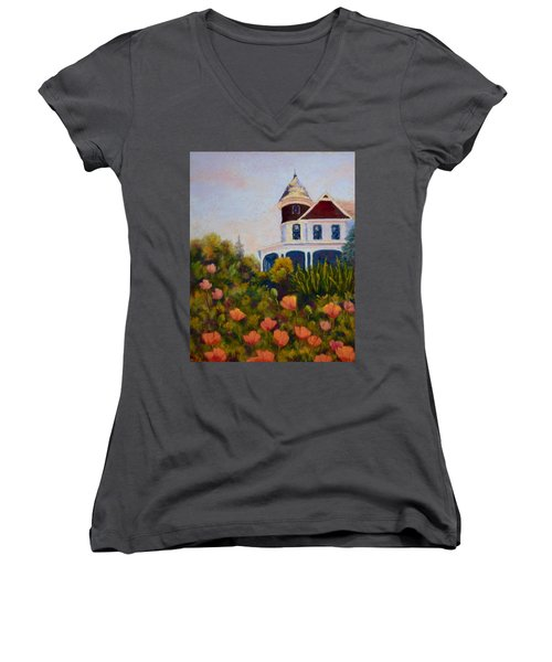 Women's V-Neck T-Shirt (Junior Cut) featuring the painting House On The Hill by Nancy Jolley