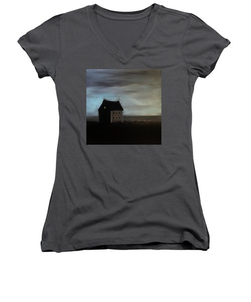 Women's V-Neck T-Shirt (Junior Cut) featuring the painting House On The Praerie by Tone Aanderaa