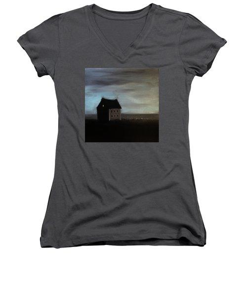 House On The Praerie Women's V-Neck T-Shirt (Junior Cut) by Tone Aanderaa