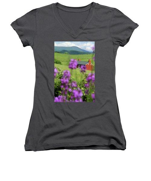 House On Virginia's Hills Women's V-Neck T-Shirt (Junior Cut) by Emanuel Tanjala