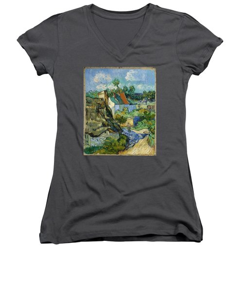 Women's V-Neck featuring the painting Houses In Auvers by Van Gogh