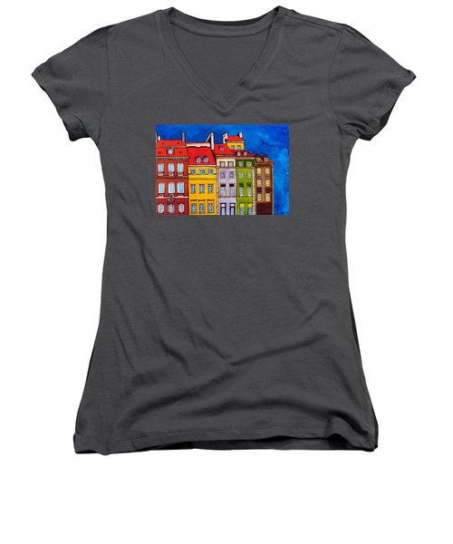 Houses In The Oldtown Of Warsaw Women's V-Neck T-Shirt