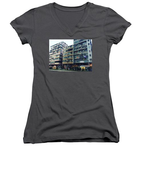 Houses Of Kowloon Women's V-Neck T-Shirt (Junior Cut) by Florian Wentsch