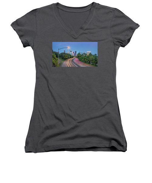 Houston Evening Cityscape Women's V-Neck