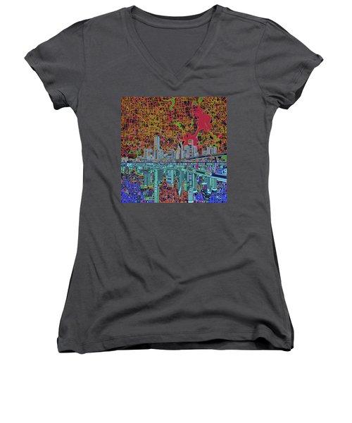 Houston Skyline Abstract 3 Women's V-Neck T-Shirt (Junior Cut) by Bekim Art