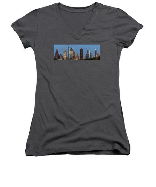 Women's V-Neck T-Shirt (Junior Cut) featuring the photograph Houston Skyline Panorama by Jonathan Davison