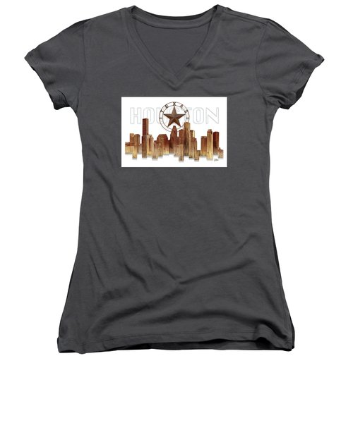 Houston Texas Skyline Women's V-Neck (Athletic Fit)