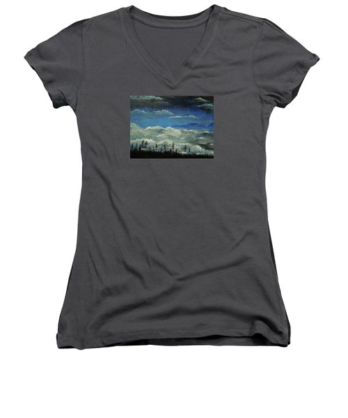Women's V-Neck T-Shirt (Junior Cut) featuring the painting How Majestic Is Your Name by Dan Whittemore