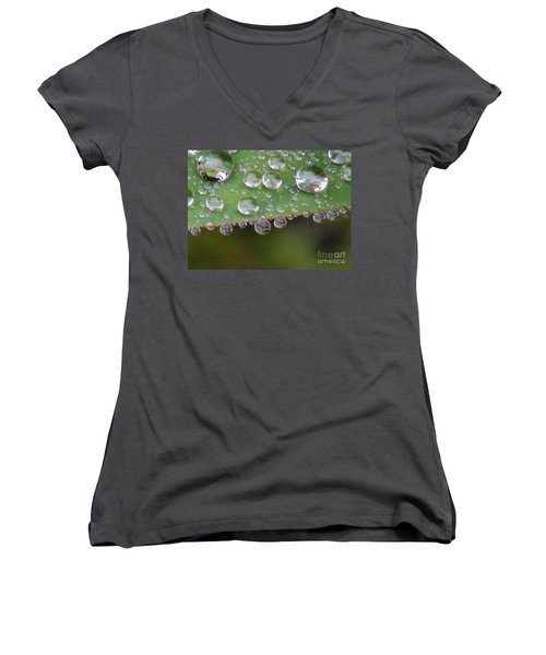 How Many Raindrops Can A Leaf Holds. Women's V-Neck T-Shirt (Junior Cut) by Kim Tran