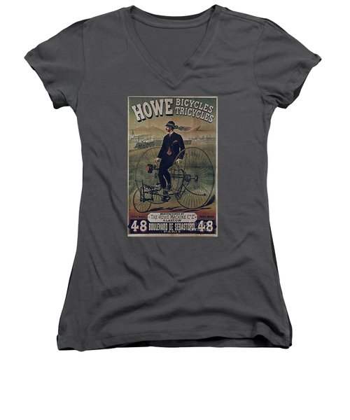 Howe Bicycles Tricycles Vintage Cycle Poster Women's V-Neck T-Shirt