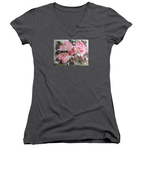 Women's V-Neck T-Shirt (Junior Cut) featuring the painting Hp11192015-0754 by Dongling Sun