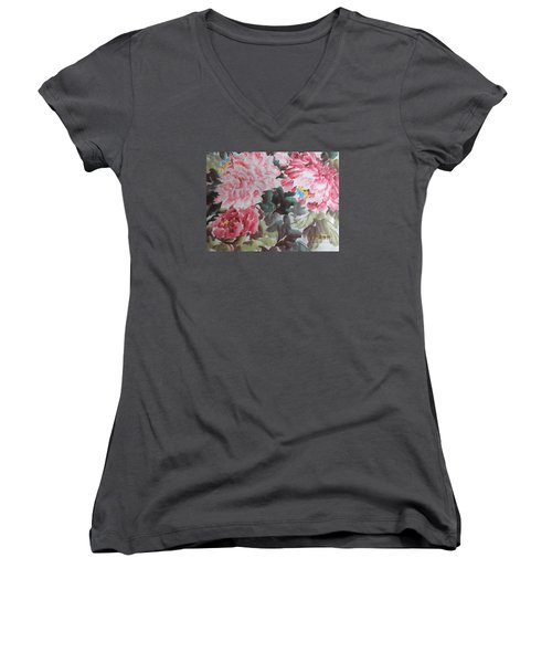 Women's V-Neck T-Shirt (Junior Cut) featuring the painting Hp11192015-0758 by Dongling Sun