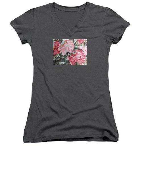 Women's V-Neck T-Shirt (Junior Cut) featuring the painting Hp11192015-0759 by Dongling Sun