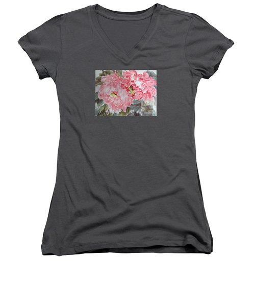Women's V-Neck T-Shirt (Junior Cut) featuring the painting Hp11192015-0761 by Dongling Sun