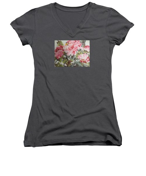Women's V-Neck T-Shirt (Junior Cut) featuring the painting Hp11192015-0769 by Dongling Sun