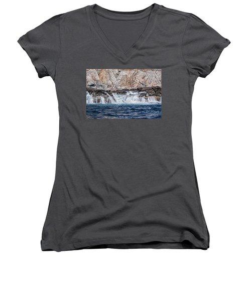 Huatulco Textures Women's V-Neck T-Shirt (Junior Cut) by Ana Mireles