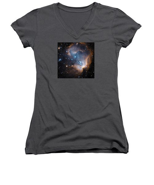 Hubble's View Of N90 Star-forming Region Women's V-Neck T-Shirt (Junior Cut) by Nasa