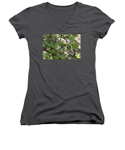 Women's V-Neck T-Shirt featuring the photograph Huckleberries by Fran Riley