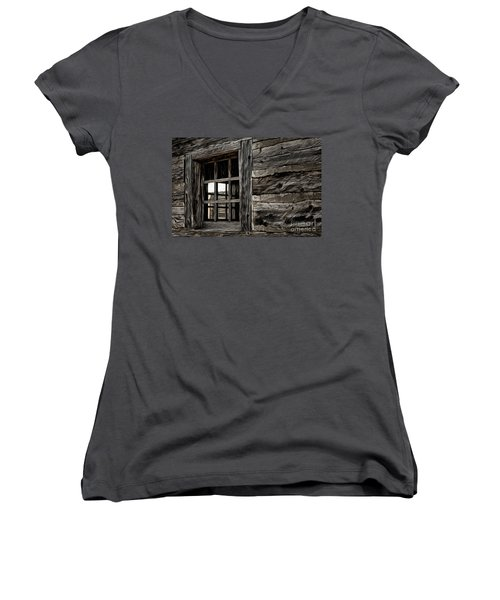 Women's V-Neck T-Shirt (Junior Cut) featuring the photograph Hudson Bay Fort Window by Brad Allen Fine Art