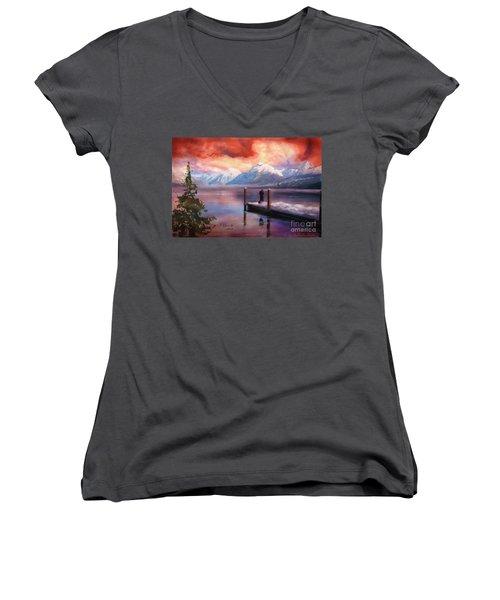 Hudson Bay Winter Fishing Women's V-Neck T-Shirt (Junior Cut) by Judy Filarecki