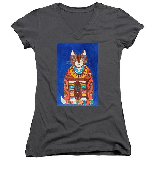 Huey Cat Women's V-Neck (Athletic Fit)