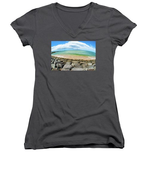 Women's V-Neck T-Shirt (Junior Cut) featuring the photograph Huge Wikiki Beach by Micah May