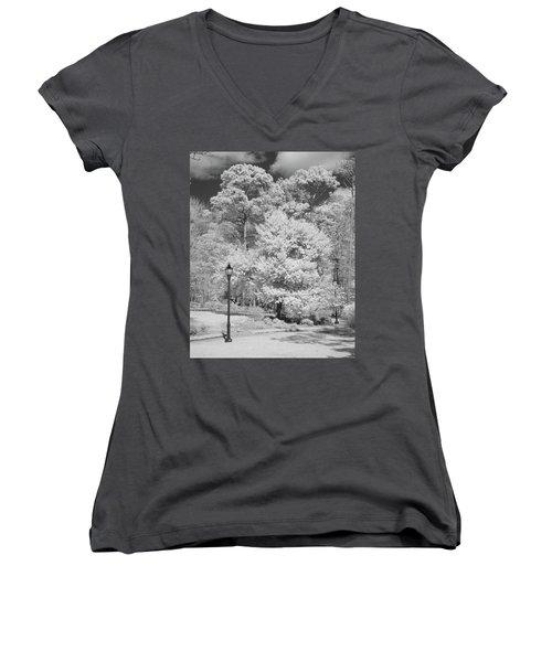 Hugh Macrae Park Women's V-Neck T-Shirt (Junior Cut) by Denis Lemay