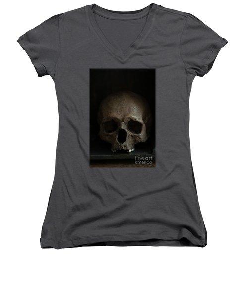 Human Skull Women's V-Neck (Athletic Fit)