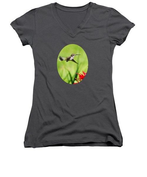 Hummingbird Hovering Over Flowers Women's V-Neck T-Shirt