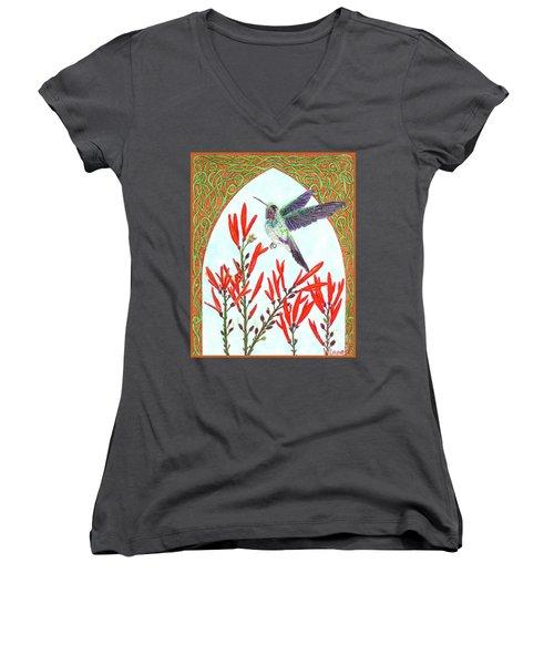 Hummingbird In Opening Women's V-Neck T-Shirt (Junior Cut) by Lise Winne