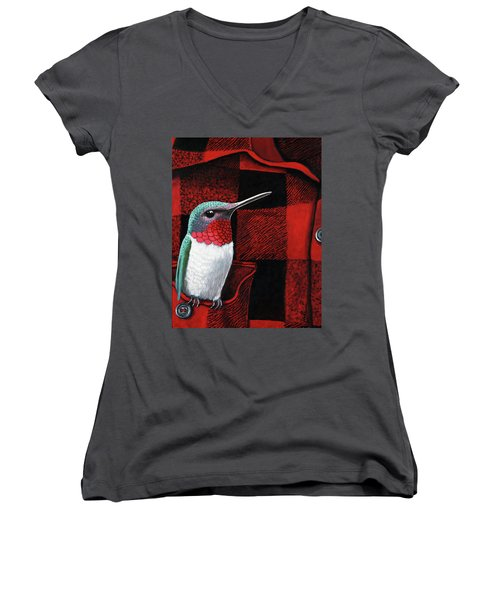 Women's V-Neck T-Shirt (Junior Cut) featuring the painting Hummingbird Memories by Linda Apple