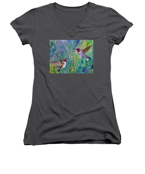 Hummingbird Pair Women's V-Neck T-Shirt (Junior Cut) by Nancy Jolley