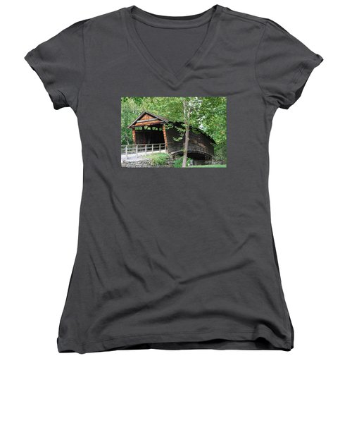 Women's V-Neck T-Shirt (Junior Cut) featuring the photograph Humpback Bridge by Eric Liller