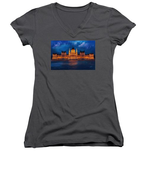Hungarian Parliament At Night Women's V-Neck