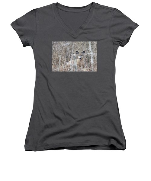Hunkered Down Women's V-Neck T-Shirt (Junior Cut) by Brook Burling