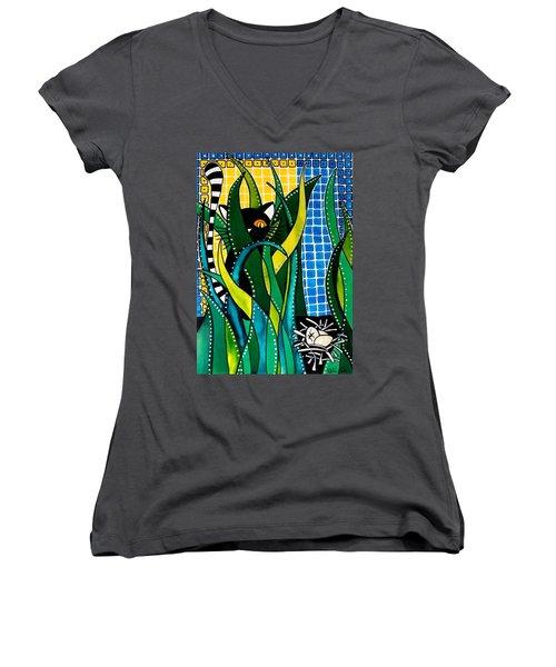 Hunter In Camouflage - Cat Art By Dora Hathazi Mendes Women's V-Neck T-Shirt (Junior Cut) by Dora Hathazi Mendes