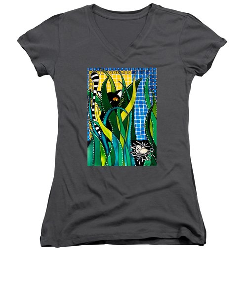 Hunter In Camouflage - Cat Art By Dora Hathazi Mendes Women's V-Neck T-Shirt