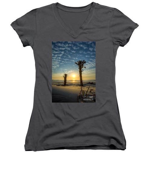 Hunting Island State Park Beach Sunrise Women's V-Neck