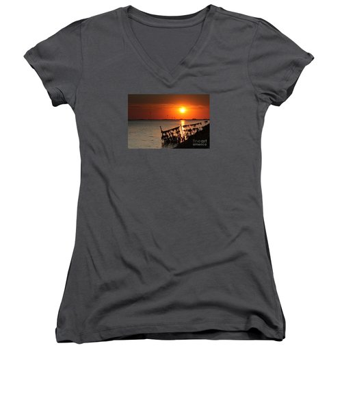 Husum Sunset Women's V-Neck (Athletic Fit)