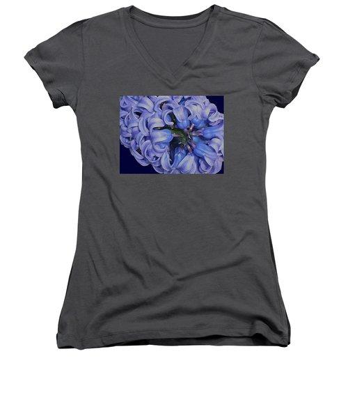 Hyacinth Curls Women's V-Neck T-Shirt (Junior Cut) by Lynda Lehmann