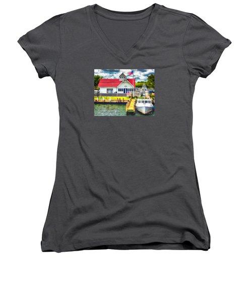 Hyannis The Coastguard Women's V-Neck T-Shirt (Junior Cut) by Jack Torcello