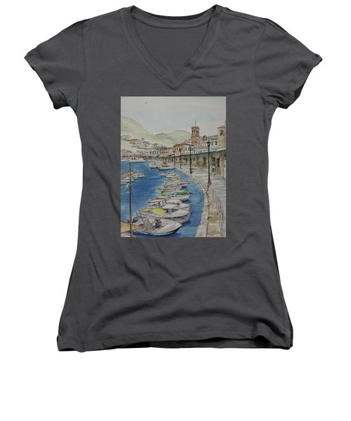 Hydra Clock Tower Women's V-Neck (Athletic Fit)
